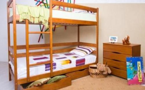Детская двухъярусная кровать из дерева купить