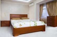 Двуспальная кровать с подъемным механизмом из натурального дерева